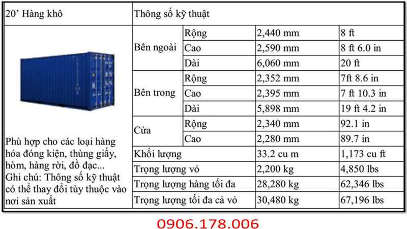 kích thước container 20 ft