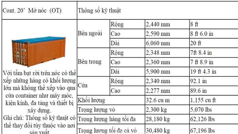 kích thước container 40 fet