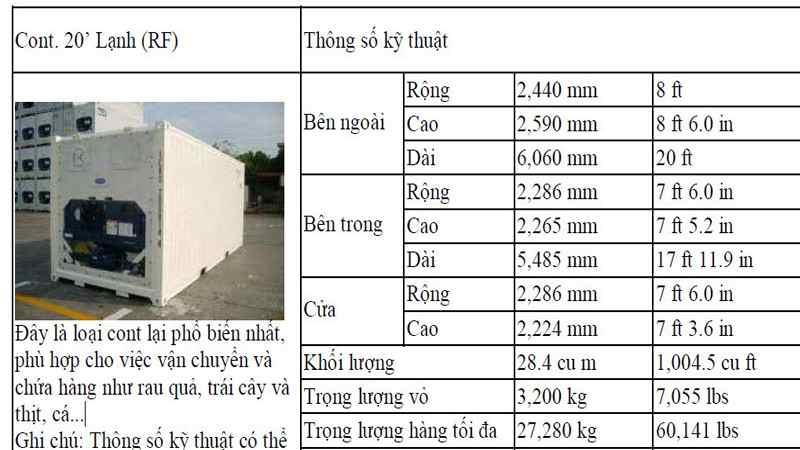 kích thước container 40 lạnh