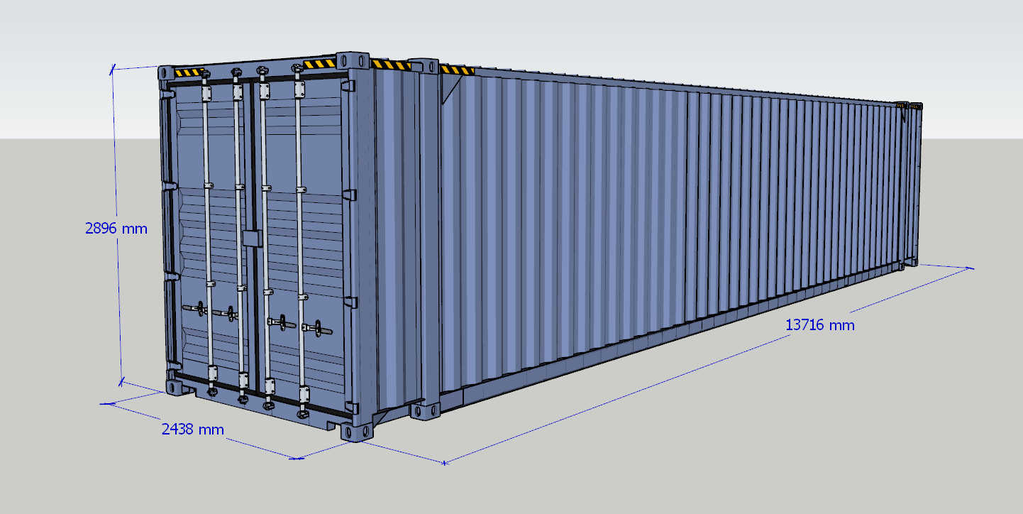 kich thuoc container 45 feet
