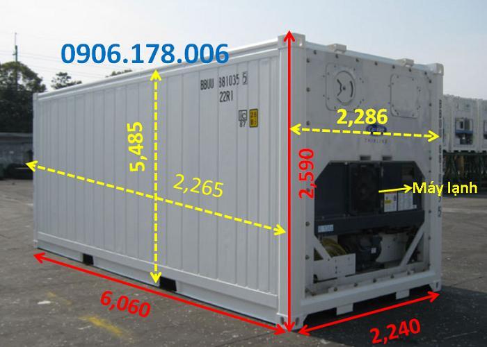 kích thước container lạnh 20 feet