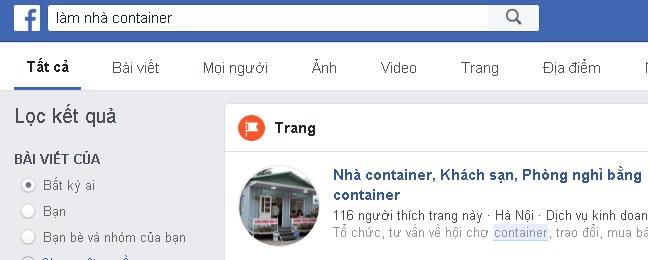 Sử dụng facebook là công cụ để tìm kiếm địa chỉ bán container cũng rất tuyệt vời