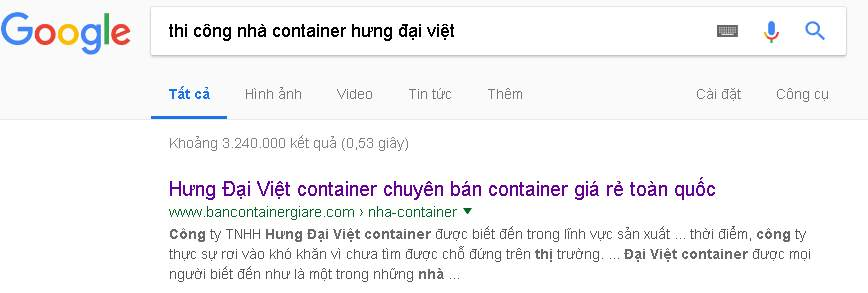 google trả ra nhiều kết quả về tìm kiếm từ khóa